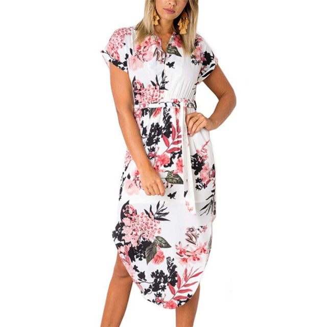 Short Sleeve Floral Tunic Dress