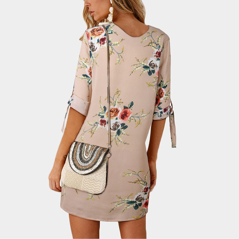 Khaki Off Shoulder Floral Print Chiffon Dress