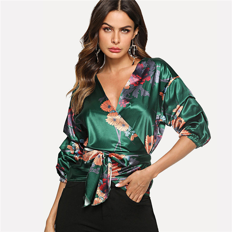 Botanical Wrap Blouse