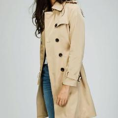 Slim Plaid Double Breasted Long Coat with Belt
