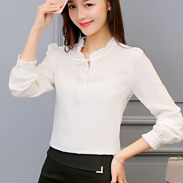 Long Sleeve Casual Chiffon Blouse