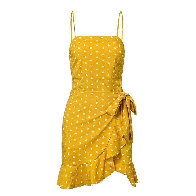 Yellow Wrap Polka Strappy Sun Dress
