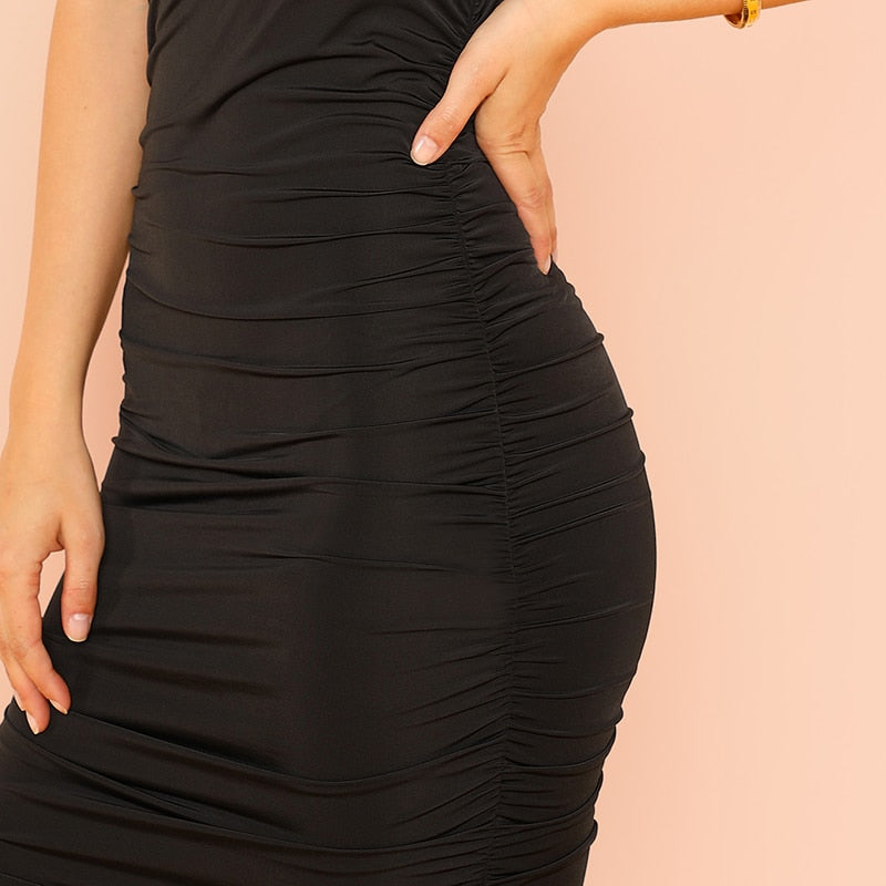 Black Halter Ruched Sleeveless & Backless Bodycon