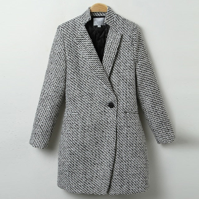 Plaid Single Breasted Wool Style Overcoat