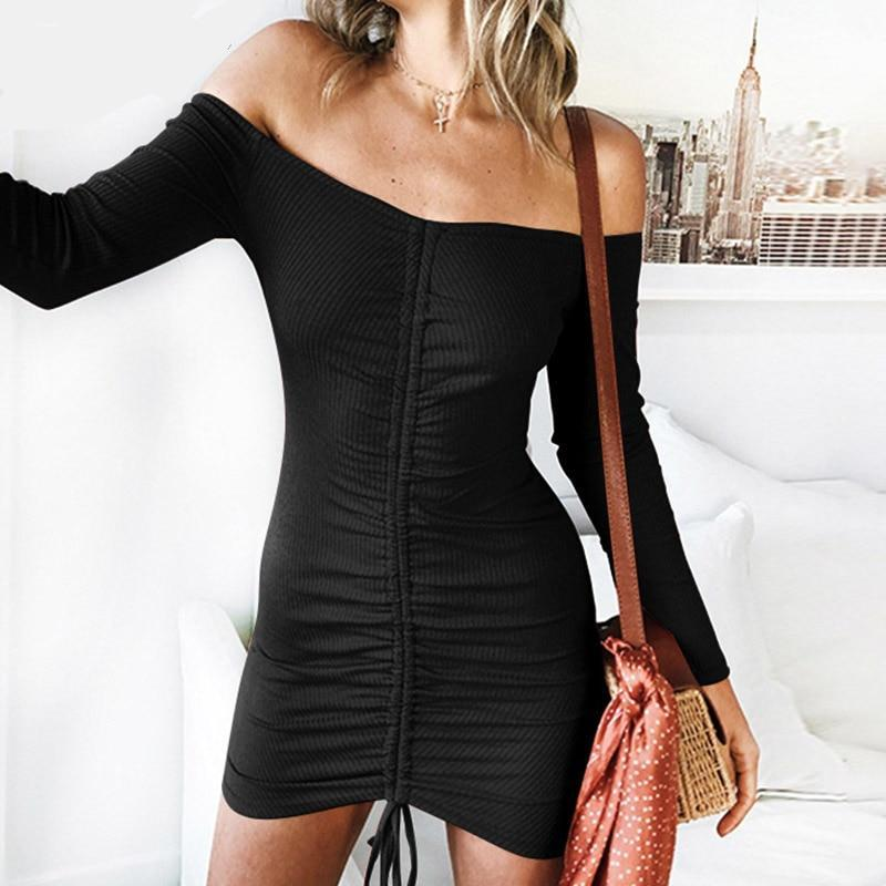Long Sleeve Ribbed Bardot Ruched Bodycon Dress