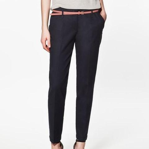 Pencil-line Cuffed Trousers