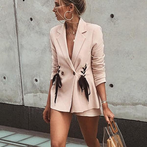 Pink Lace Up Double Breasted Blazer