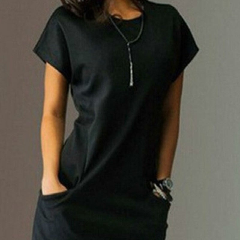 Short Crew Neck Pocketed Slim T-shirt Dress