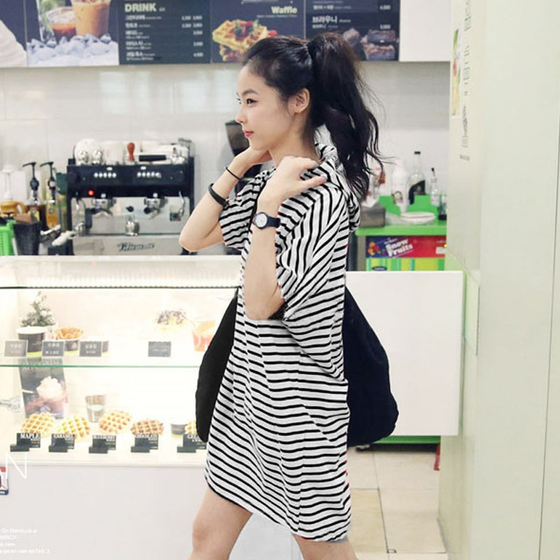 Striped Hooded Oversize Boyfriend Short-Sleeve T-shirt Dress