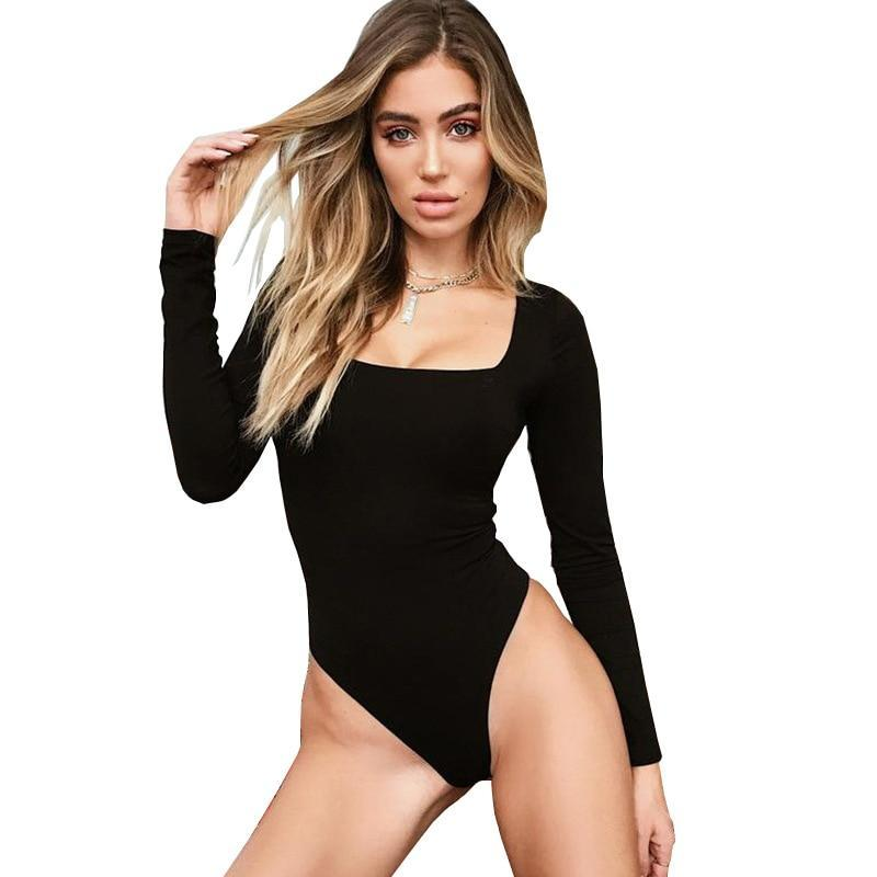 Square Neck Knitted Long Sleeve Ribbed Bodysuit