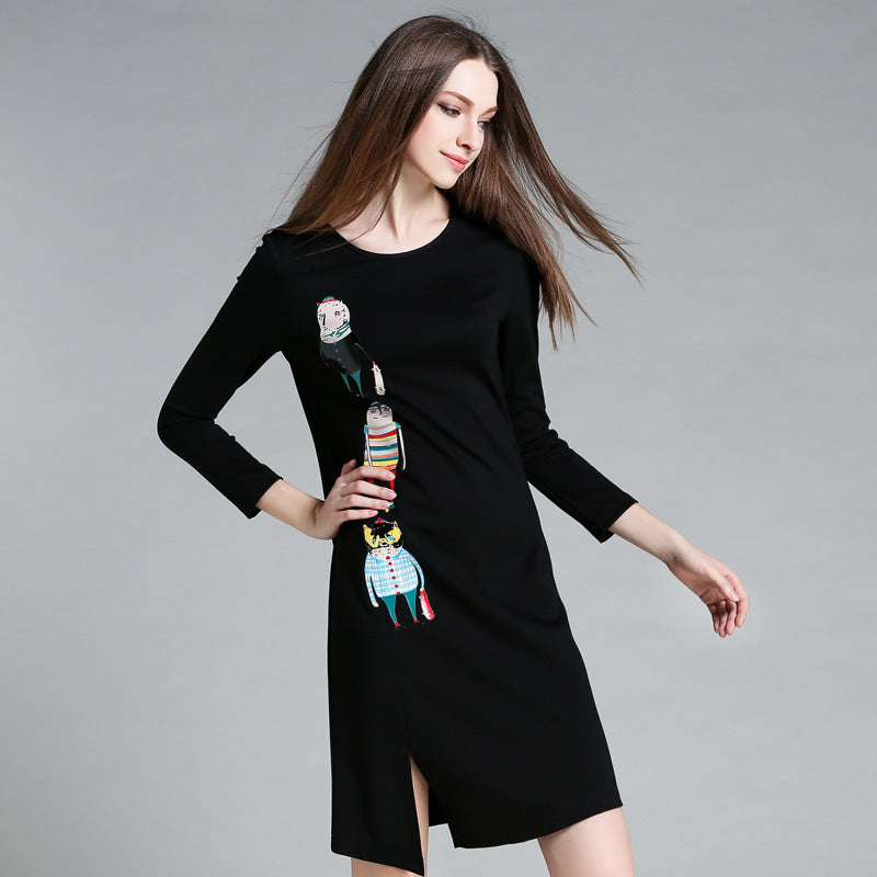 Cartoon Print Long Sleeve Dress