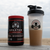 Leonidas Blend Pre-workout and Spartan Fit Shaker Bottle sitting on bench in Newport Beach