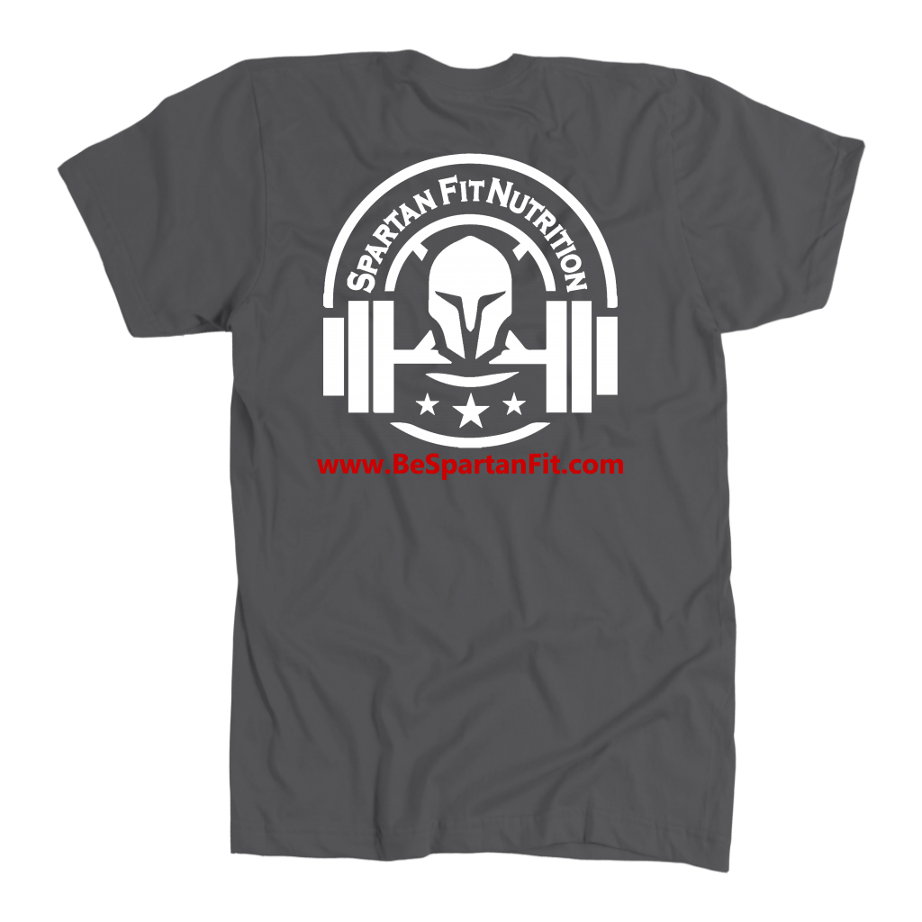 "Back side of Gray Spartan Fit T-shirt with words ""Make Muscles not Excuses"""
