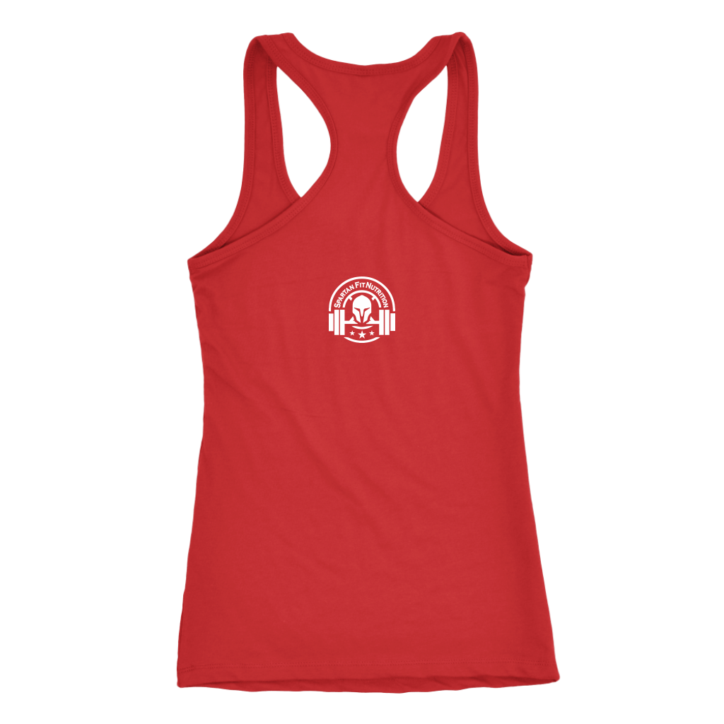 Spartan Fit Women's Red Racerback tank top Back with White Logo