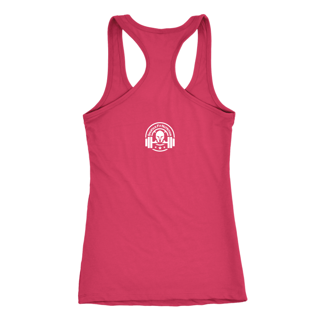 Spartan Fit Women's Pink Racerback tank top back with white logo