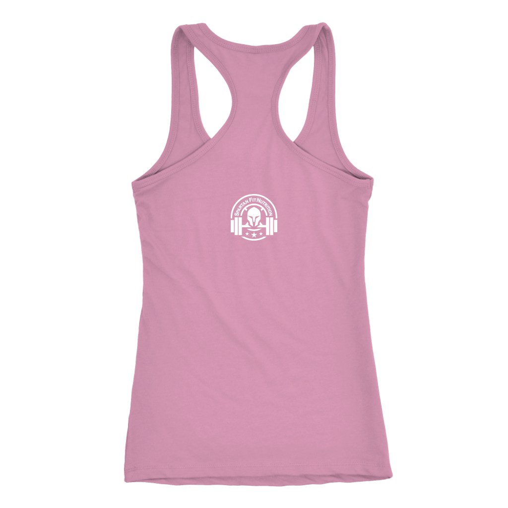 Spartan Fit Women's light pink Racerback tank top rear with white logo