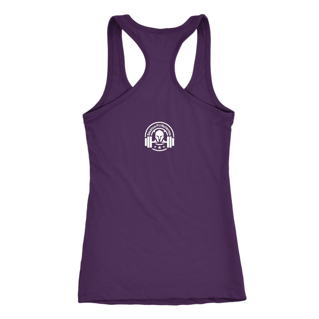 Spartan Fit Women's Purple Racerback tank top back with white Spartan Fit logo
