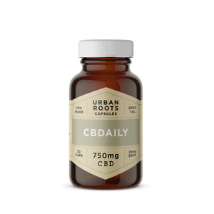 Urban Roots CBD CBDaily Capsules. A smooth blend of coconut (MCT) oil and CBD formulated for daily use to decrease inflammation, improve mood, and general wellness.