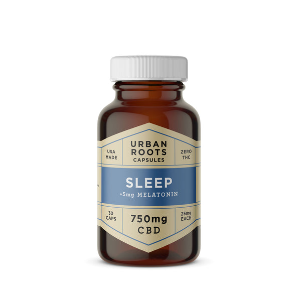 Urban Roots CBD Sleep Capsules. A smooth blend of coconut (MCT) oil, pure CBD and melatonin formulated to calm the body and mind for a better night's sleep.