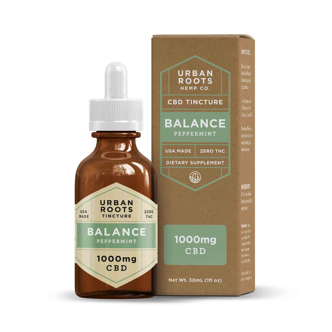 Urban Roots 1000mg CBD Balance Tincture. A smooth blend of coconut (MCT) oil, pure CBD, and peppermint formulated to boost the mood, manage pain, and reduce inflammation.