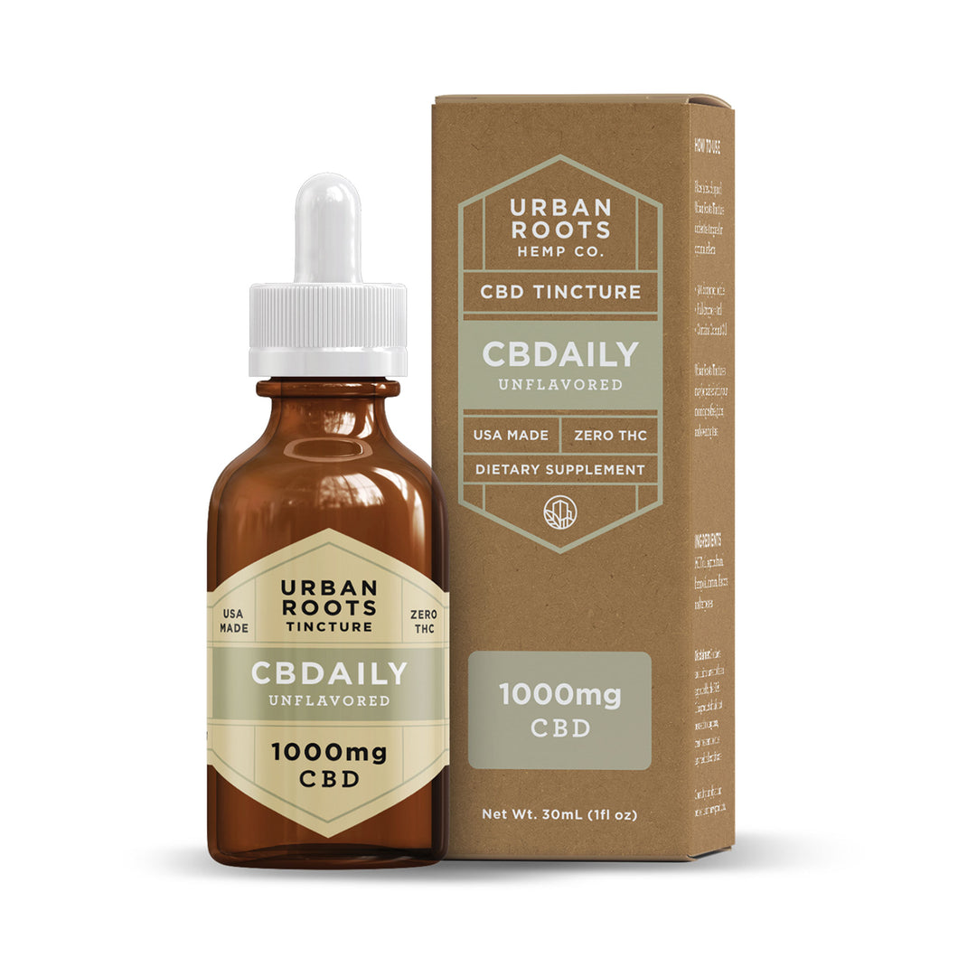 Urban Roots 1000mg CBD CBDaily Tincture. An unflavored blend of coconut (MCT) oil and pure CBD formulated for daily use to decrease inflammation, improve mood, and restore the body.