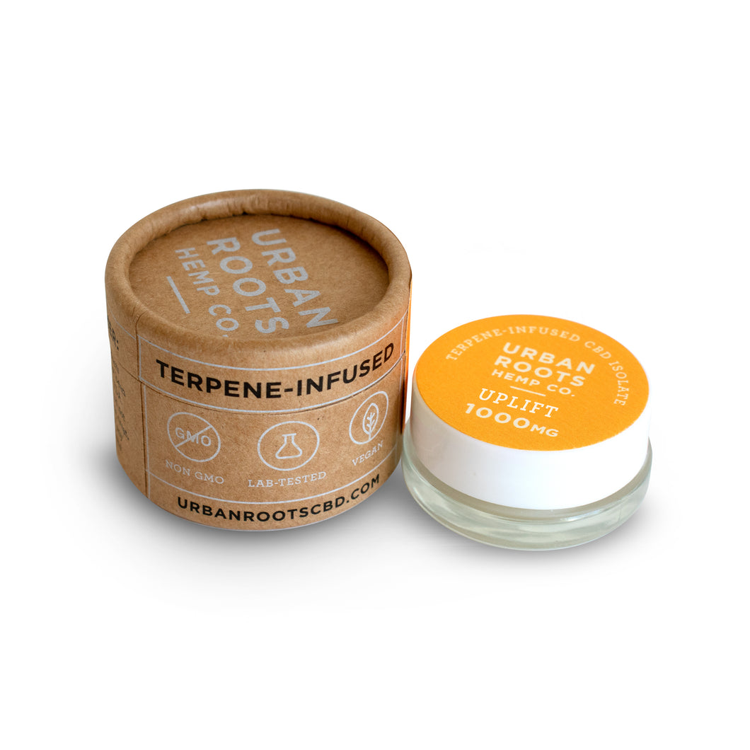 Pure hemp-derived CBD isolate flavored with natural terpenes. RELAX formula has a delicious orange tropical punch taste that will cleanse your pallet and leave you feeling relaxed and satisfied. Our Uplift formula has an excellent lemon taste with subtle floral notes to finish.