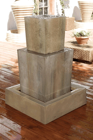 Image of Gist Decor Double Obtuse Outdoor Stone Fountain