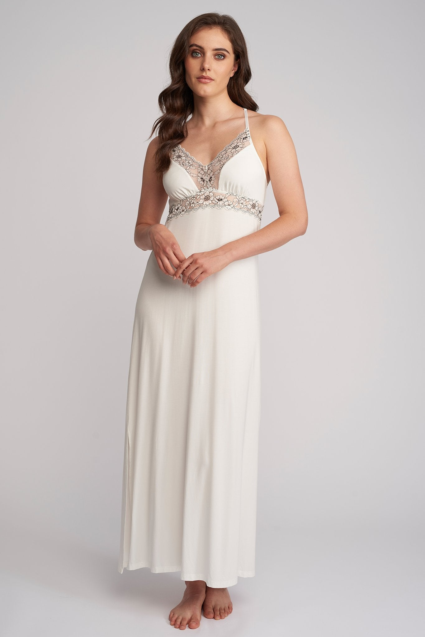 Bridal Lace Long Gown with Silk Detail