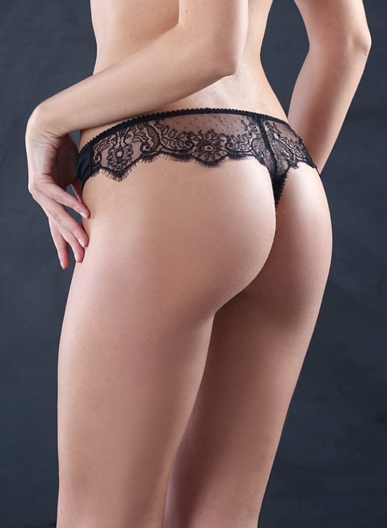 Shantilly Lace Silk Thong