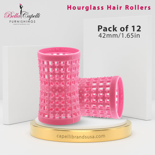 Hourglass All Hair Types Unisex Rollers- Pink 42mm/1.65in – Pack of 12