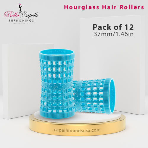 Hourglass All Hair Types Unisex Rollers- Blue 37mm/1.46in – Pack of 12