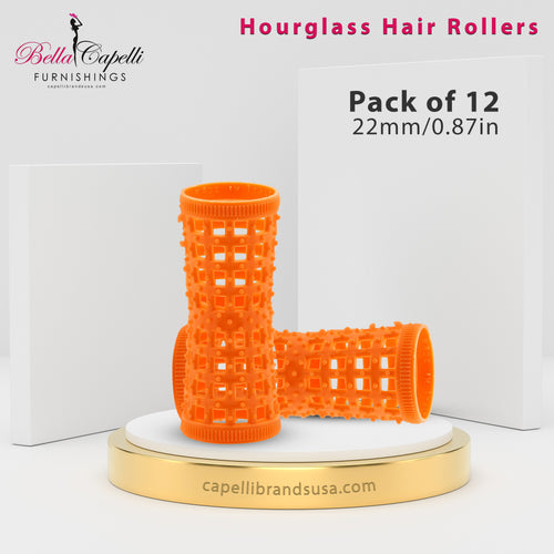 Hourglass All Hair Types Unisex Rollers-Orange 22mm/0.87in – Pack of 12
