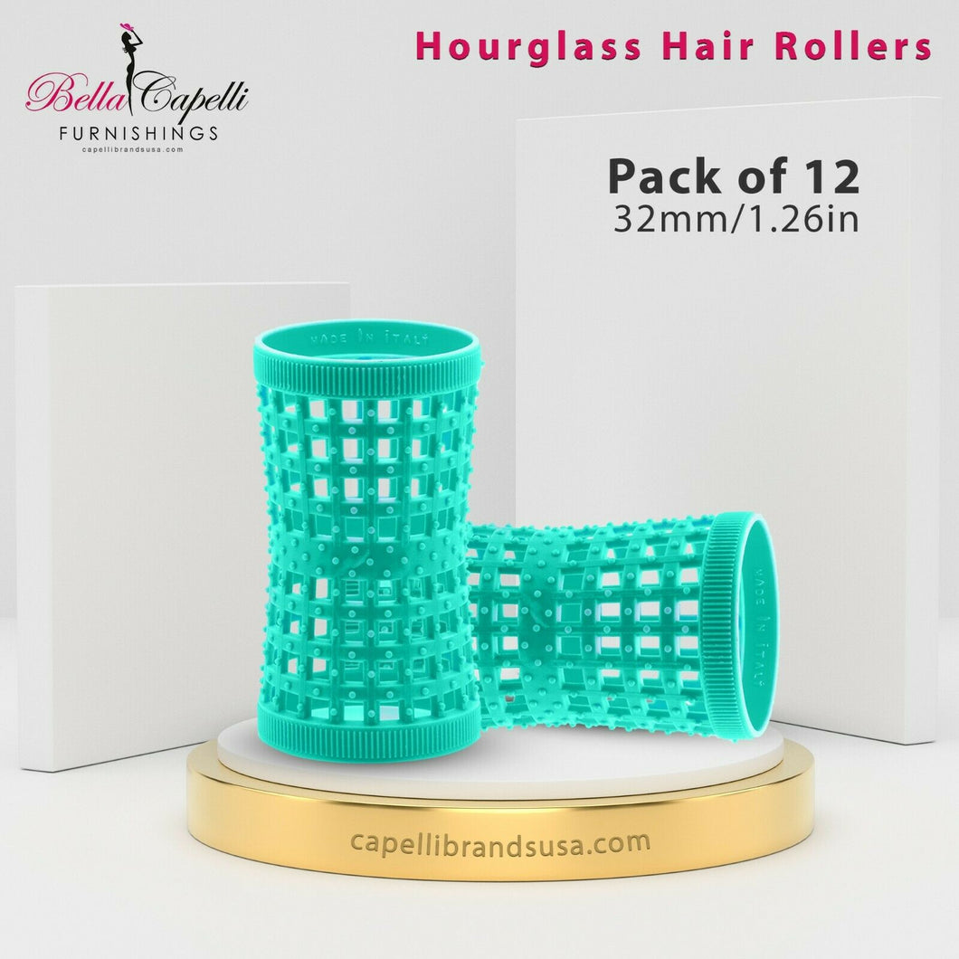 Hourglass All Hair Types Unisex Rollers-Aqua 32mm/1.26in – Pack of 12