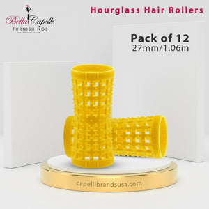 Hourglass All Hair Types Unisex Rollers- Yellow 27mm/1.06in – Pack of 12