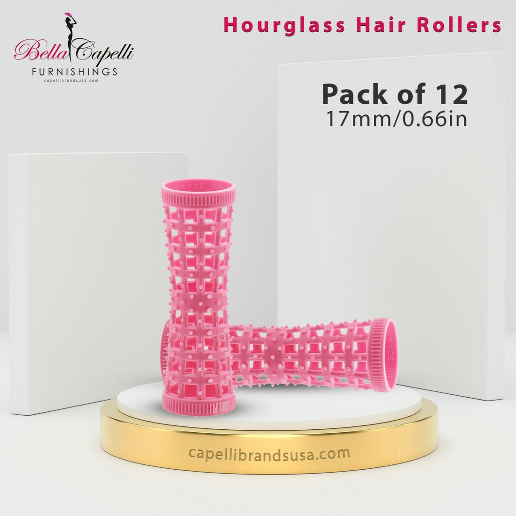 Hourglass All Hair Types Unisex Rollers- Mini- Pink HGR 17mm/0.66in – Pack of 12