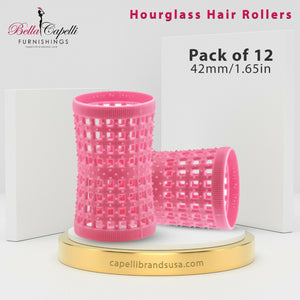 Large Hourglass Rollers – Pink 42mm /1.65in (Pack of 12)