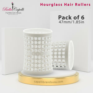 Hourglass All Hair Types Unisex Rollers-White 47mm/1.85in – Pack of 6