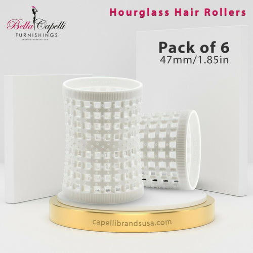 Hourglass All Hair Types Unisex Rollers- White HGR 47mm/1.85in – Pack of 6