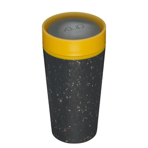 rCup Reusable Coffee Cup 12oz (340ml)- Black and Yellow