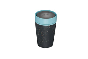 rCup Reusable Coffee Cup 8oz (227ml)- Black and Teal