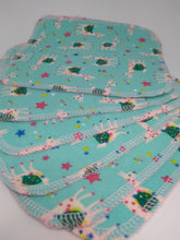 Load image into Gallery viewer, Brushed Cotton Reusable Wipes- Turquoise Llama