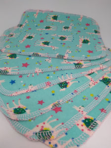 Brushed Cotton Reusable Wipes- Turquoise Llama