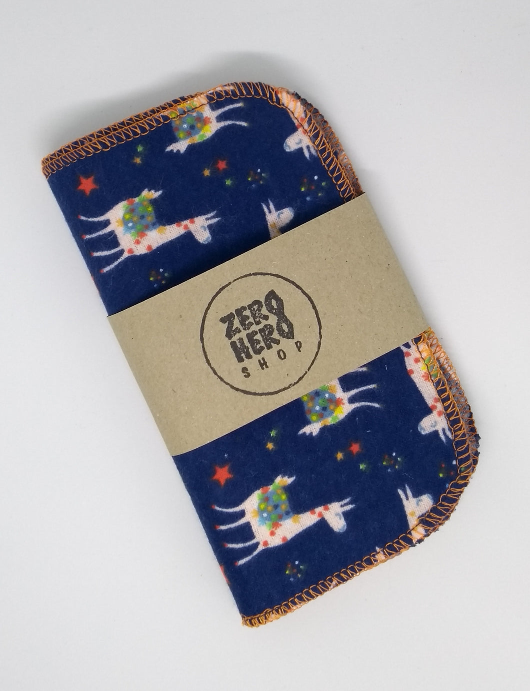 Brushed Cotton Reusable Wipes- Navy Blue Llama
