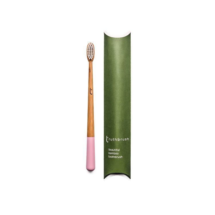Truthbrush Bamboo Biodegradable Toothbrush With Castor Oil Bristles- Medium Petal Pink