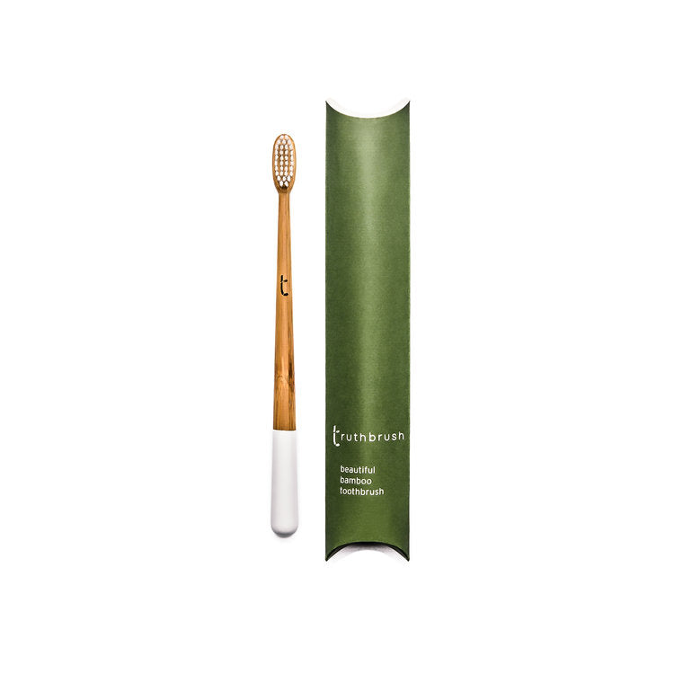 Truthbrush Bamboo Biodegradable Toothbrush With Castor Oil Bristles- Medium Cloud White