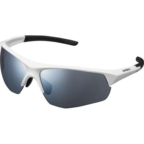 Shimano Twinspark Glasses, White, Smoke Silver Mirror Lens