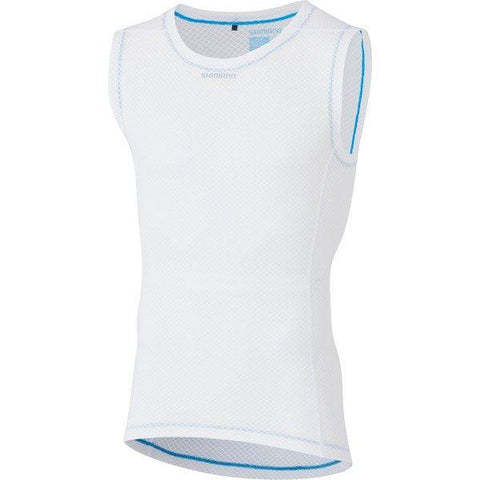 Shimano Clothing Men's Sleeveless Mesh Baselayer, White, Size S