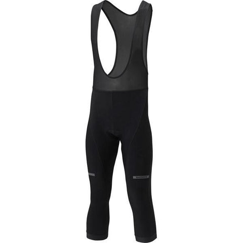 Shimano Clothing Men's 3/4 Winter Bib Tights, Black, Size XL