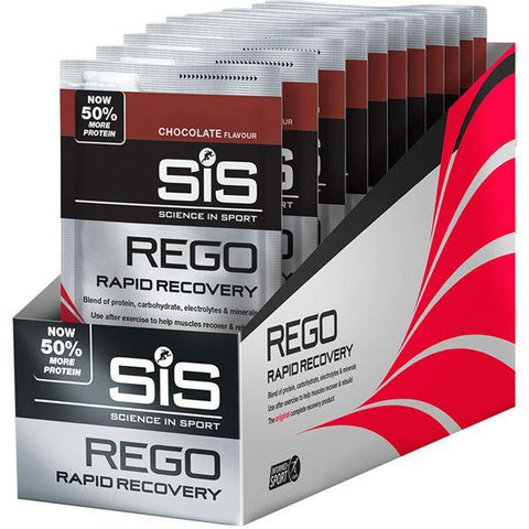 Science In Sport REGO Rapid Recovery drink powder chocolate 50 g sachet - PACK OF 18
