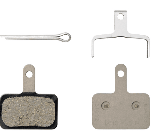 Shimano B01S disc brake pads and spring, steel backed, resin